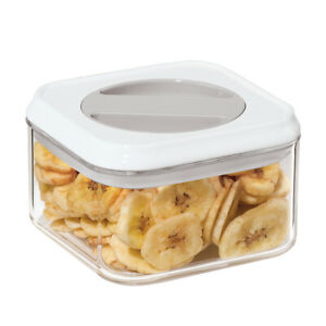 """Oggi Square Airtight Acrylic Canisters w/Silicone Gasket (34 Oz./5.5""""x5""""H) White"""
