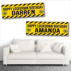 Personalised Yellow BioHazard Lockdown Quarantine Birthday Party Banner