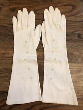 Vtg Mantessa Women's Ivory Cotton Dress Gloves West Germany Embroidery Fancy