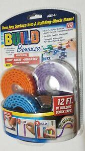 Set Build Bonanza Flexible Building Adhesive Blocks Base Tape 4 Rolls X2 Bundle