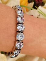 TENNIS Bracelet white GOLD Blue TOPAZ  Jewelry Gemstone bangle gift HANDMADE 8mm