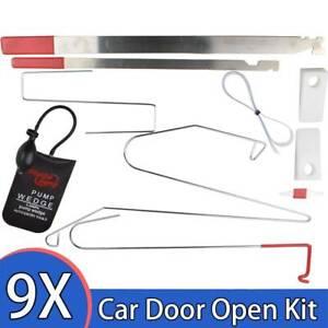 9Pcs Universal Car Door Emergency Opening Key Lock Out Unlock Tools Kit Air Pump