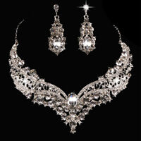 Wedding Bridal Queen Shiny Rhinestone Necklace Earrings Jewelry Set Dreamed