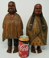 """Large 13"""" VTG Folk Art Hand Carved Painted Wood Mexican Couple Primitive Rustic"""