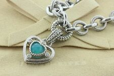 "Judith Ripka Sterling Silver Diamonique Blue Chaldecony Heart Rolo Necklace 18"""