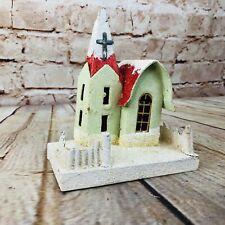 "Vtg Cardboard Christmas Village Putz Mica House 5"" Church glitter"