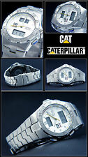 CAT SILVER-RACING R4 144 Herrenuhr Chronograph Digital & Analog Edelstahl neu