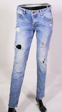 GJ1-324 Zara Slim Skinny Low Waist Jeans Gr. 36 L32 blau Stretch ripped-look