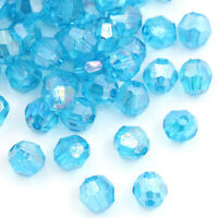 500 Seeblau Klar Acryl Schliffperlen Facettiert Beads Bicone 6x6mm