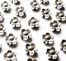 45 x Flower Spacer Beads Charms, 8mm, Silver Plated Jewellery Craft, Hole 1.5mm