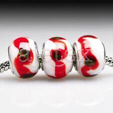 5pcs Hot Silver Murano Glass Lampwork Beads Fit European Bracelet LB0114