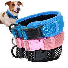 Wide Bling Sequins Adjustable Nylon Dog Collars for Dachshund Beagle Corgi Pug