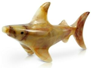 Onyx Swimming Shark 3'' Hand Carved Decorative Ornament