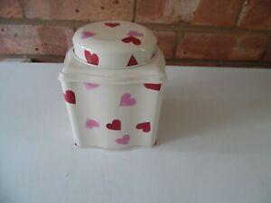 Emma Bridgewater Metal Wavy Caddy Storage Tin - Pink Hearts - New Just Released