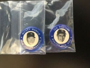"""1969 MICKEY MANTLE & TED WILLIAMS  MLB 1"""" Button / Pin Yankees / Red Sox - RARE!"""