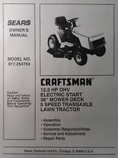 """Sears Craftsman 12.5 hp Lawn Tractor & 38"""" Mower Owner & Parts Manual 917.254750"""