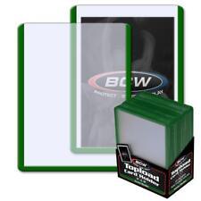 25 BCW 3 x 4 TOPLOAD BASEBALL TRADING CARD HOLDERS GREEN BORDER HARD PROTECTORS