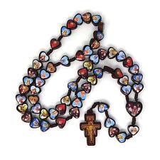 Neues AngebotHeilige Rosenkranz mit Assisi Kreuz Dunkelbraun Holz Katholische Herz Form