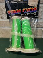 Vintage Team Cycle BMX Racing Grips Flourscent Green and white 80s Vtg New Nwt