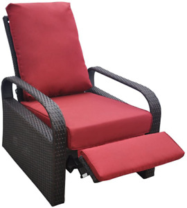 Automatic Adjustable Patio Recliner Chair Relaxing Sofa Outdoor Wicker Armchair