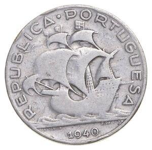 SILVER Roughly Size of Quarter 1940 Portugal 5 Escudos World Silver Coin *420