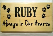 Personalised Pet Memorial Plaque, Custom Always In Our Hearts Sign Dog Cat Large