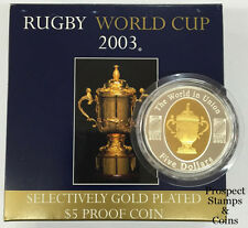 2003 Rugby World Cup Selective Gold Plated - $5 Silver Proof Australian Coin