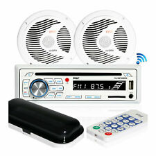 Pyle Marine Bluetooth Stereo Receiver & 6.5 Inch Speaker Pair with Remote, White