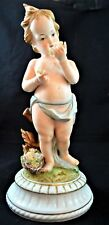 Andrea by Sedak Bisque Cherub Figurine 11� on Porcelain Stand Flowers in Hand