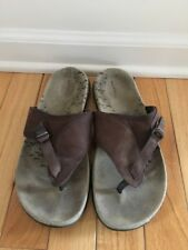MERRELL BROWN LEATHER STRAPPY SLIP ONS SZ 8/39 GREAT SOLES