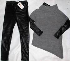NWT Joah Love SOFT Macy Tunic Top Shirt Faux Leather Look Leggings Pants 10 12 Y