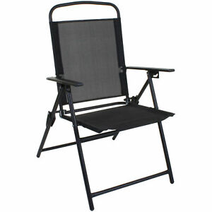 BLACK FOLDING CHAIR OUTDOOR GARDEN PATIO FURNITURE BLACK TEXTOLINE RELAXER SEAT