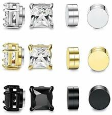 6 Pairs Magnetic Stud Earrings For Men Women Round Square CZ Magnet Clip On Set