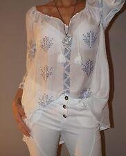 NEU Tunika 30% Seide Bömmelchen Shirt Folklore Bluse 36-40/42 L Weiß Top Trend
