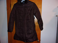 NEW LADY'S 3/4 LENGTH BROWN WINTER COAT w/ ATTACHED FAUX FUR TRIMMED PARKA..MED