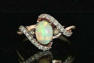 $1,499 LeVian 14K Rose Gold Chocolate White Diamond Neapolitan Opal Ring Size 7