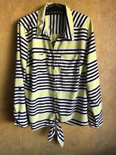 Notations Pink White Stripe Button Down Long Sleeve Women Shirt Size Large