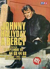 """""""Johnny HALLYDAY à BERCY 1995"""" Annonce originale entoilée 25x31cm"""