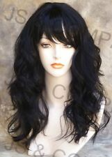 Human Hair Blend Long Off Black Wavy Heat Safe Wig w. bangs  1B wii