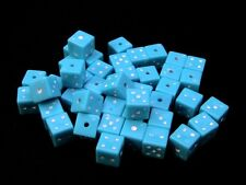 40 x 7.5mm Blue Acrylic Dice Style Beads Jewellery Kids Craft Square Spacer W102