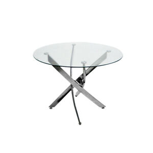 Clear Round Glass Dining Table with Chrome Leg Dining Table / Cafe Table 100 cm