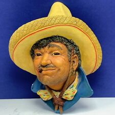 Bosson Legend Chalkware face bust figurine wall hanging Pancho Villa vaquero vtg
