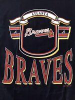 NOS NWT Vintage Atlanta Braves Mens T Shirt Navy Blue Size XL Russell Athletic