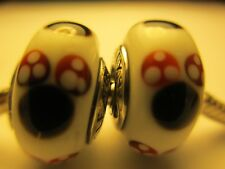 2 Pandora Sterling Silver 925 Ale Disney Classic Minnie Glass Beads Charm 791634