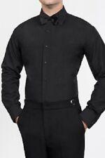 Neil Allyn Black Flat Front Microfiber Tuxedo Shirt