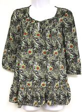 Liberty of London Target Isis Print Top Size XS Black White Green Feather NEW