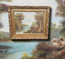 Idyllic Sescape Landscapes, Original Oil Painting, Signed And Prunkrahmung