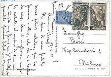 ITALIA  REPUBBLICA storia postale - serie LAVORO su cartolina TASSATA 1951