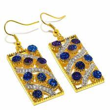 """Titanium Druzy, White Topaz Golden Silver Fashion Jewelry Earring 2.0"""" SE8661"""