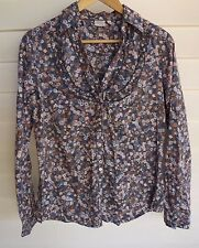 Esprit Women's Grey Blue Pink & White Floral Long-Sleeve Shirt - Size 10